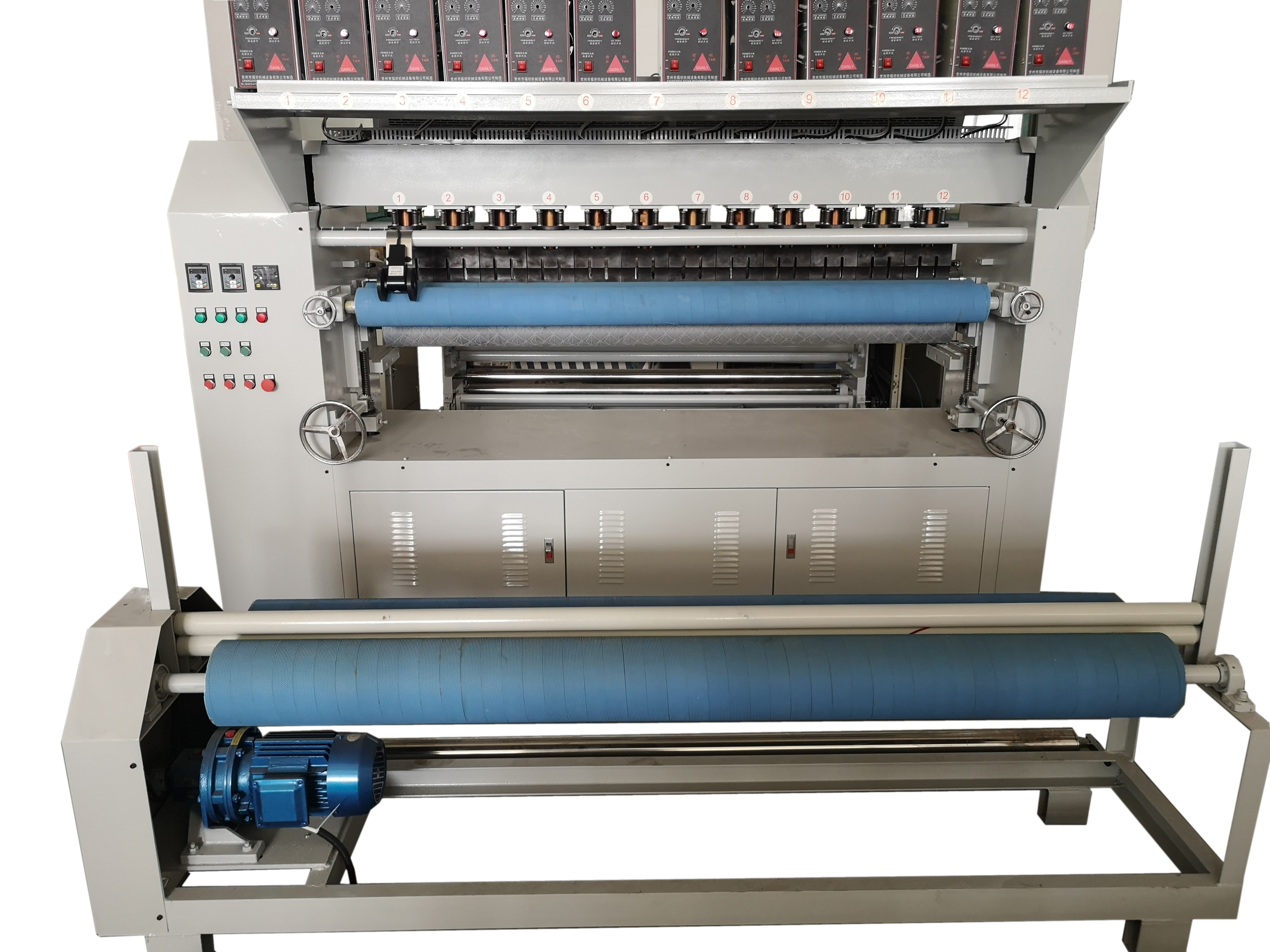Ultrasonic embossed composite rolling quilting machine for fabric material